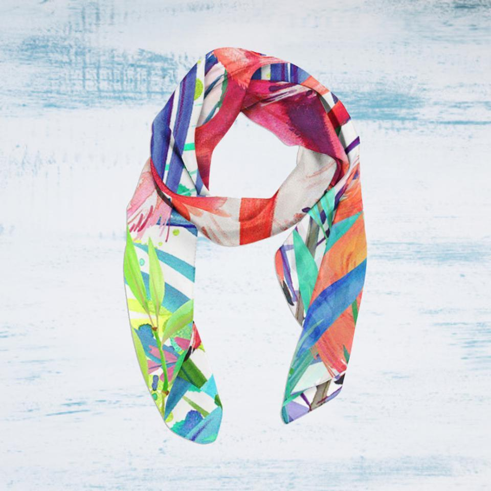 Flamingos Painting Soft Silky Scarf--Coastal Passion