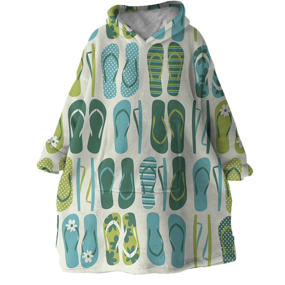 Flip Flop Frenzy Wearable Blanket Hoodie-Coastal Passion