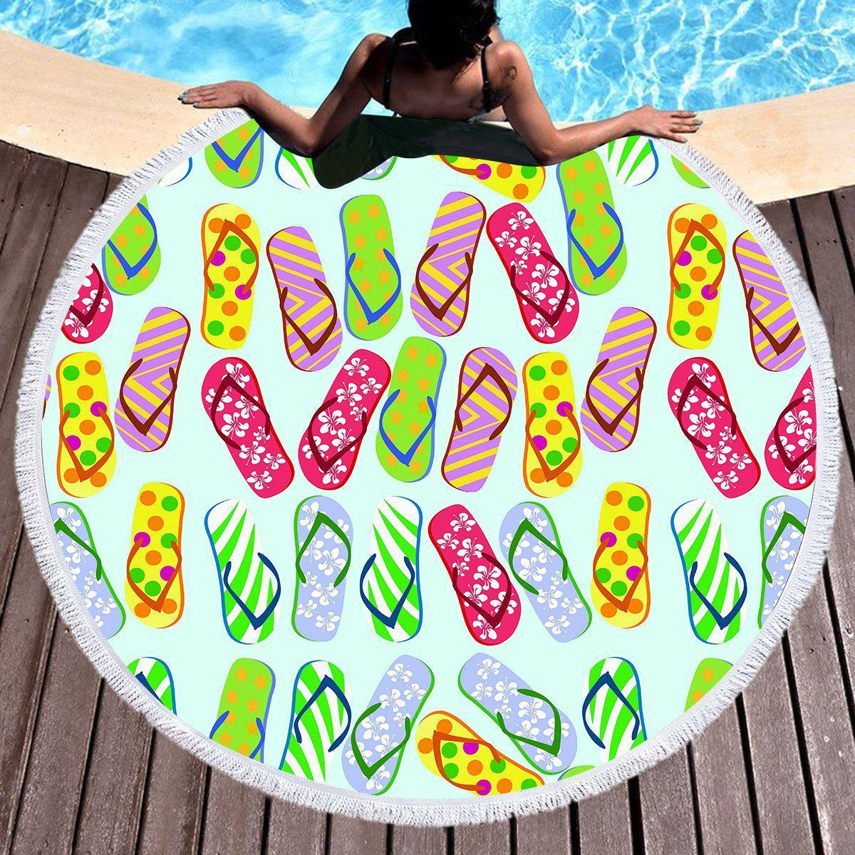 Flip Flop Kinda Girl Round Beach Towel-Round Beach Towel-Coastal Passion