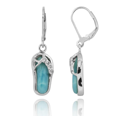 Earrings-Flip Flop Lobster Clasp Earrings with Larimar and Crystal-Coastal Passion