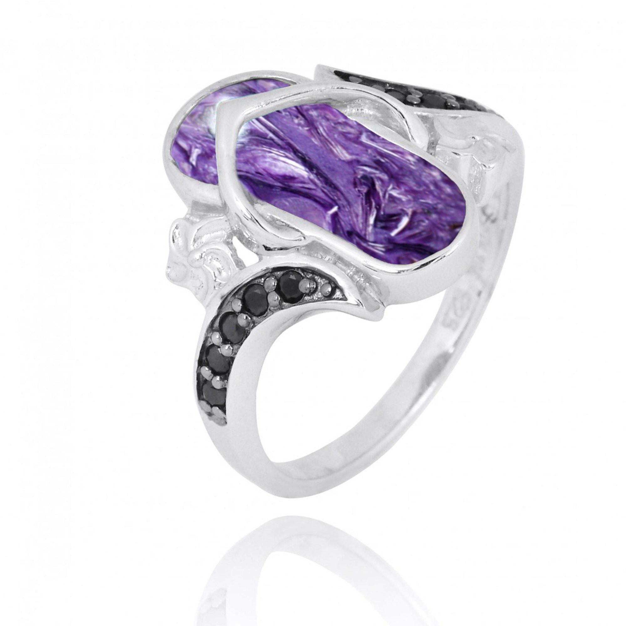 Ring-Flip Flop Ring with Charoite and Black Spinel-Coastal Passion