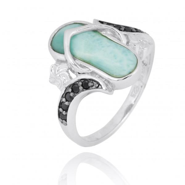Ring-Flip Flop Ring with Larimar and Black Spinel-Coastal Passion