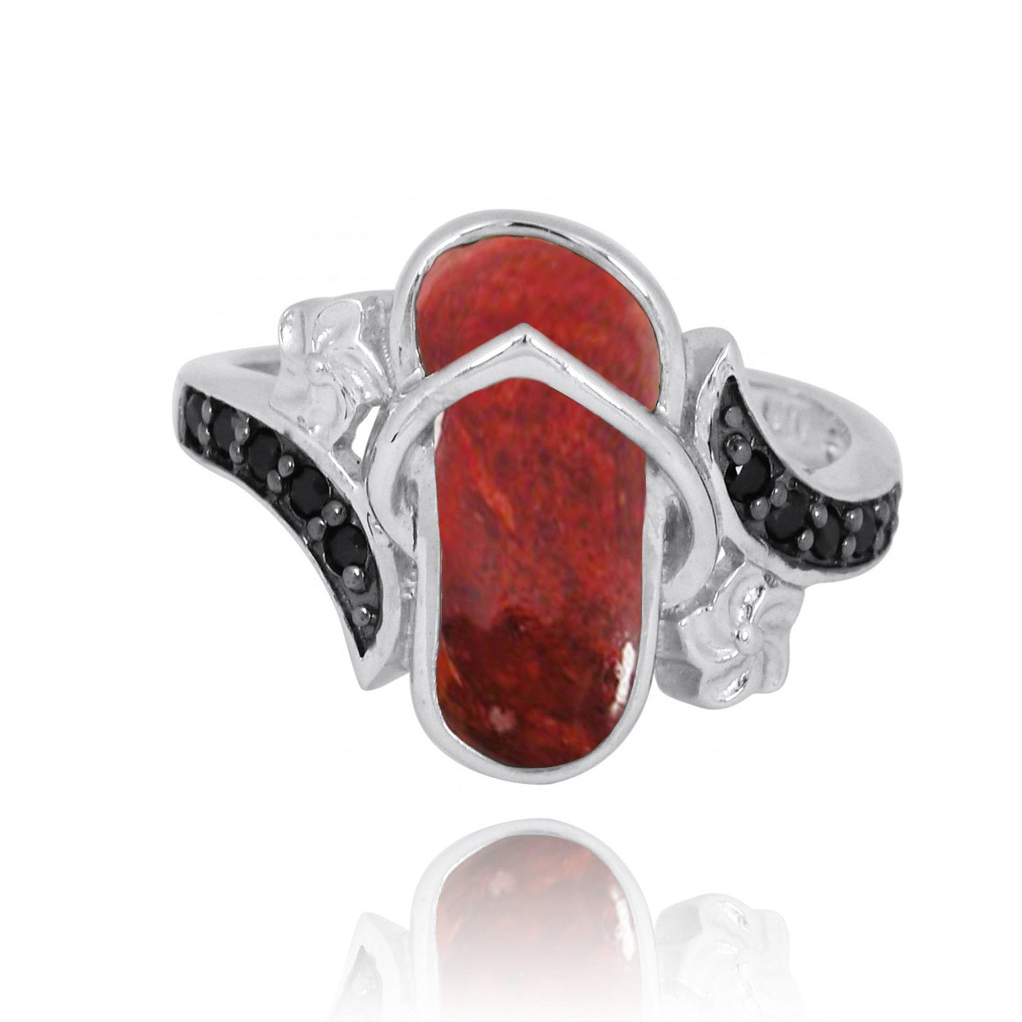 Ring-Flip Flop Ring with Red Coral and Black Spinel-Coastal Passion