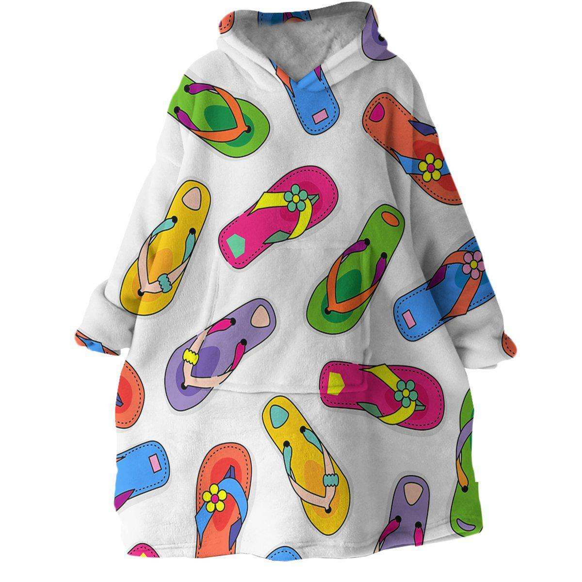 Flip Flop State of Mind Wearable Blanket Hoodie-Coastal Passion