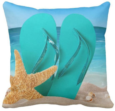 "Flip Flops Collection NEW!-Pillow Cover-Design 2-17"" x 17""-Outdoor: Canvas-Coastal Passion"