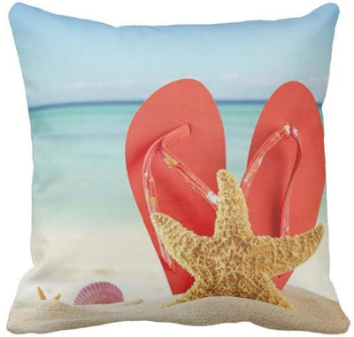 "Flip Flops Collection NEW!-Pillow Cover-Design 3-17"" x 17""-Standard: Linen Blend-Coastal Passion"