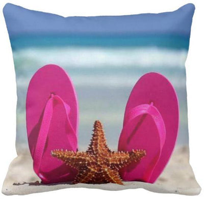 "Flip Flops Collection NEW!-Pillow Cover-Design 4-17"" x 17""-Standard: Linen Blend-Coastal Passion"