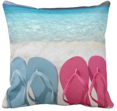 "Flip Flops Collection NEW!-Pillow Cover-Design 7-17"" x 17""-Standard: Linen Blend-Coastal Passion"