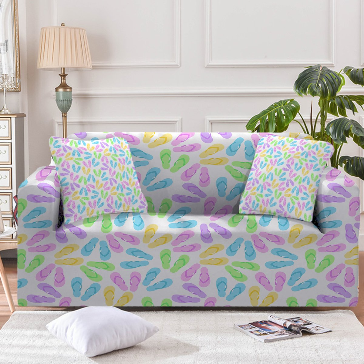 Flip Flops Galore Couch Cover-Coastal Passion