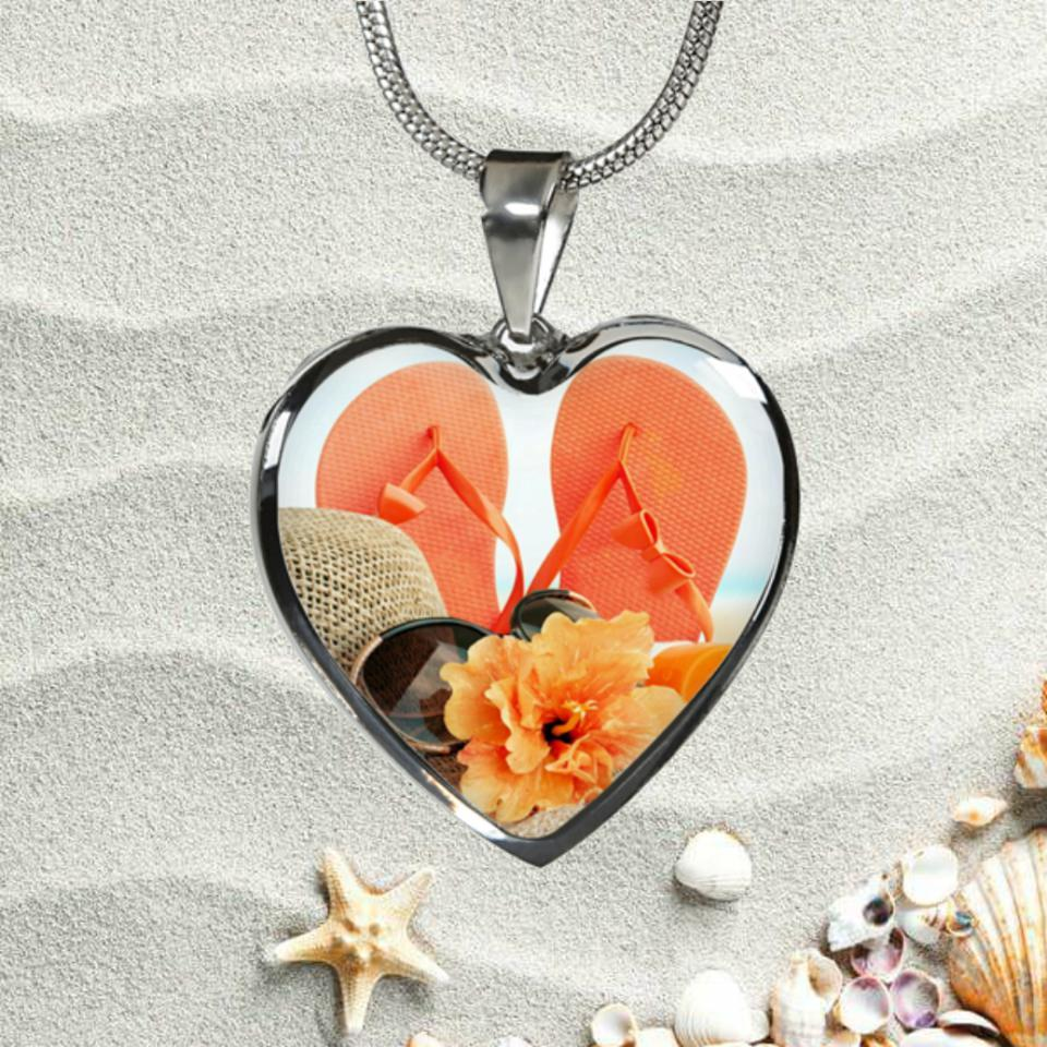 Flip Flops & Hibiscus Necklace-Jewelry-Coastal Passion