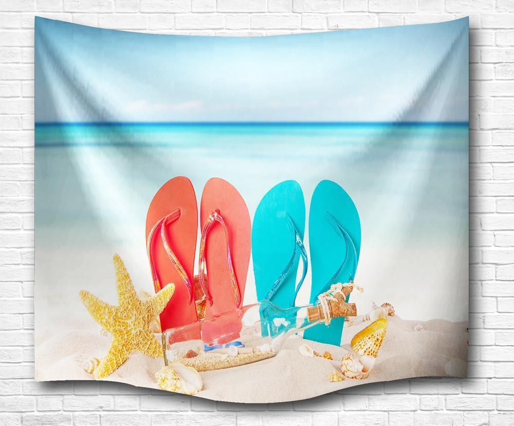 "Flip Flops in the Sand Wall Tapestry-60"" x 40""-Indoor: Light Polyester-Coastal Passion"