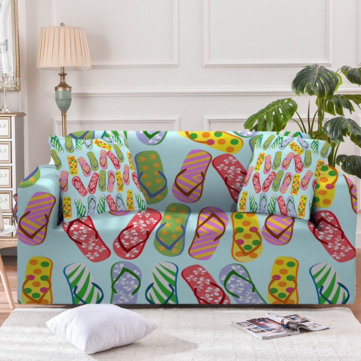Flip Flops Kinda Girl Couch Cover-Coastal Passion