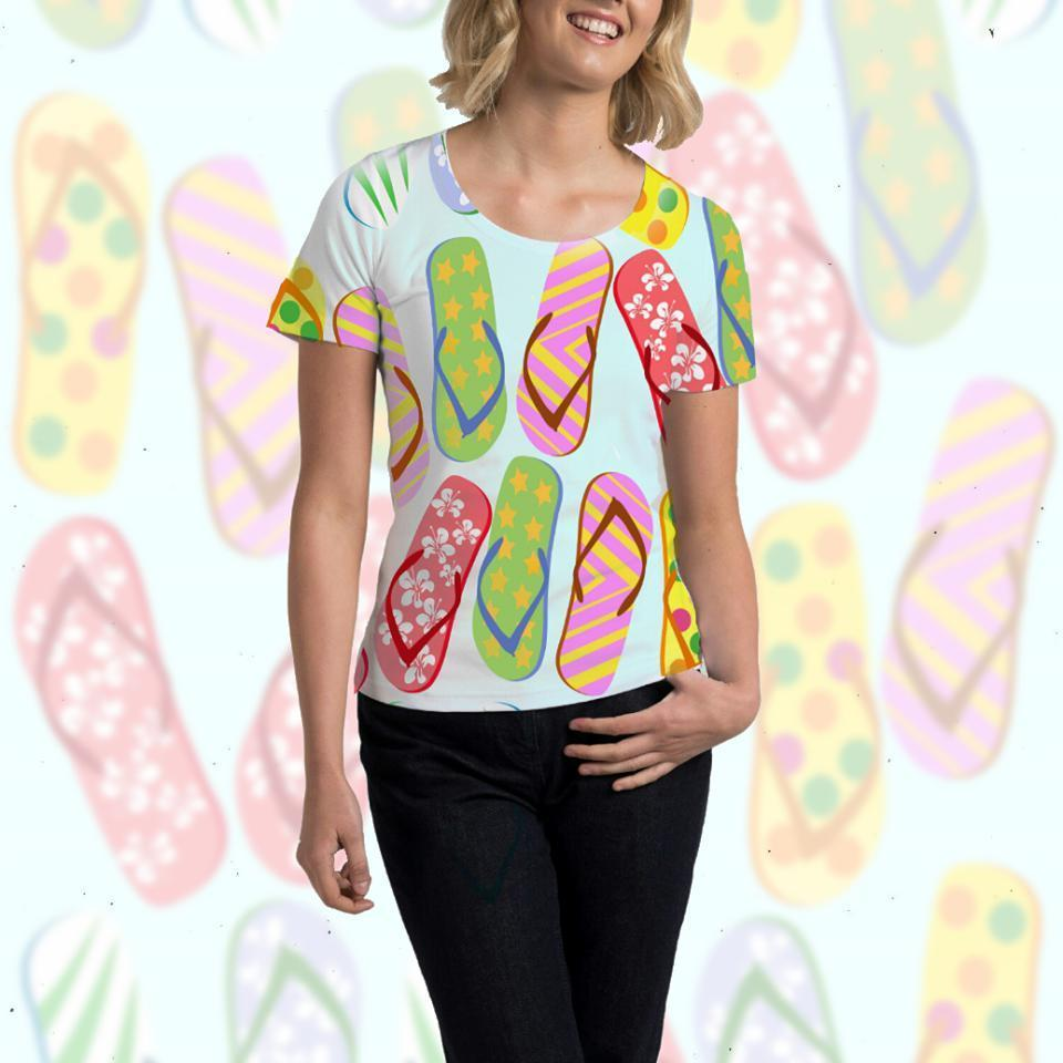 Flip Flops Galore Tee-All Over Prints-Coastal Passion