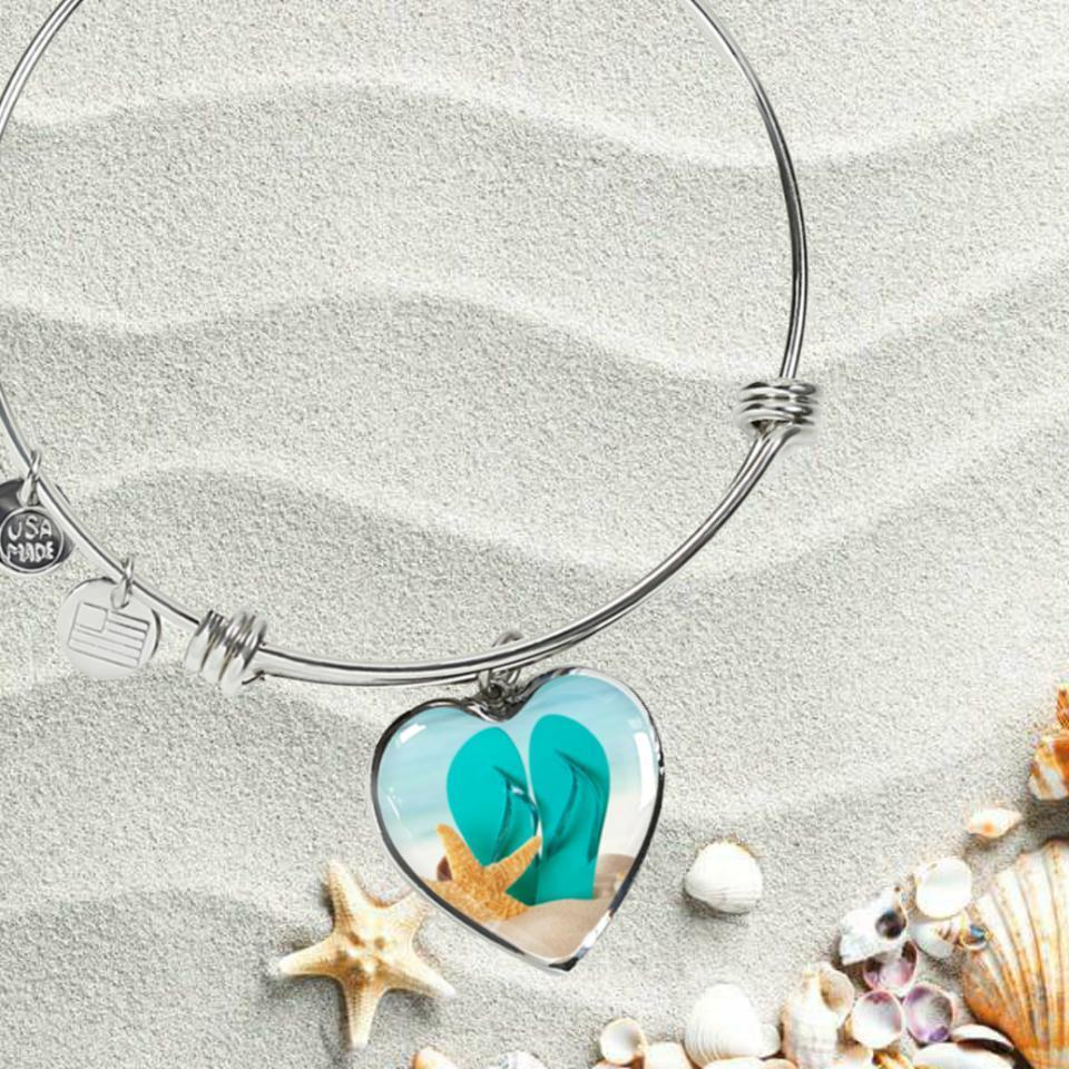 Flip Flops On The Beach Bracelet-Bangle Bracelet-Coastal Passion