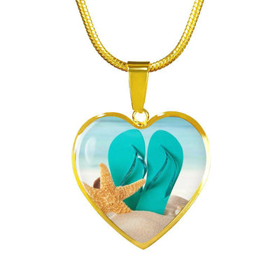 Flip Flops On The Beach Gold Necklace-Jewelry-Luxury Necklace (Gold)-Coastal Passion