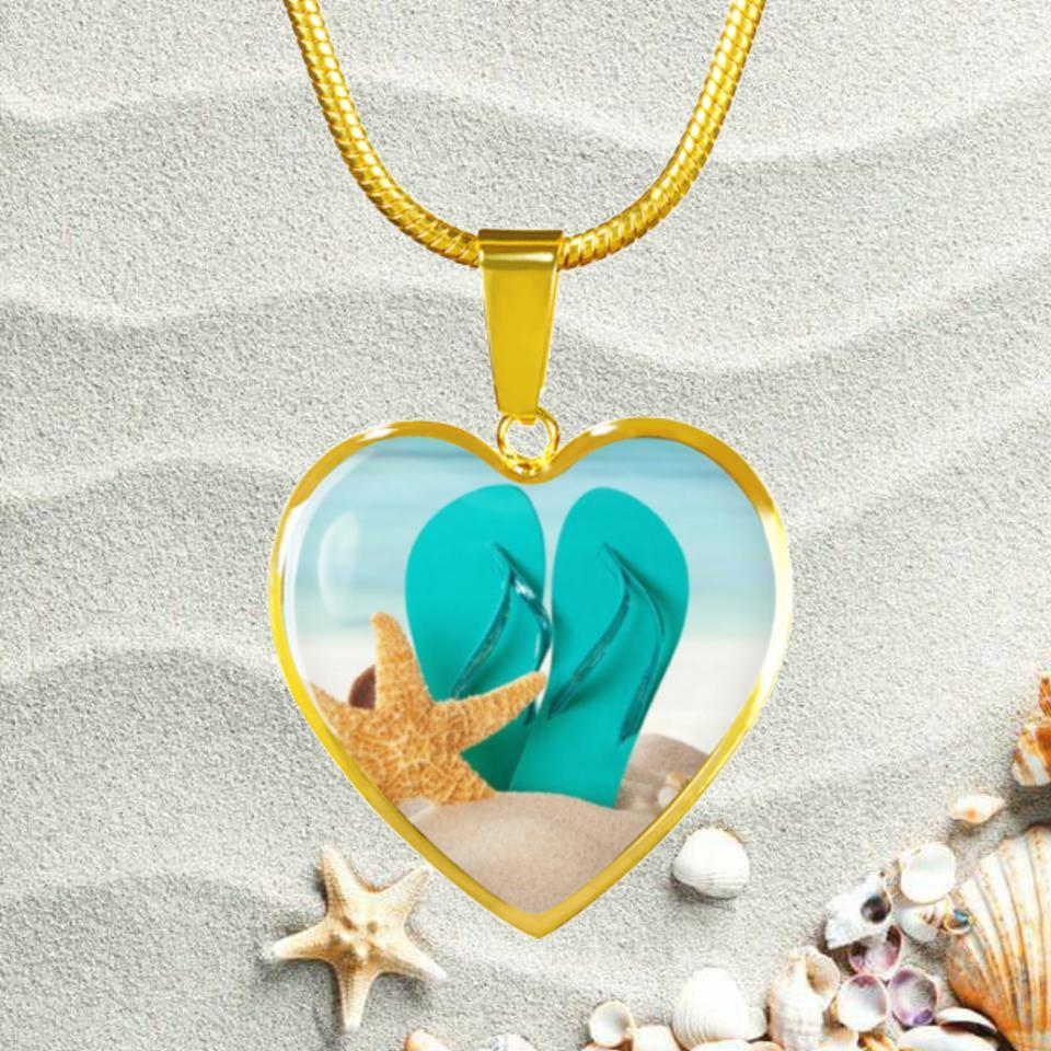 Flip Flops On The Beach Gold Necklace-Jewelry-Coastal Passion