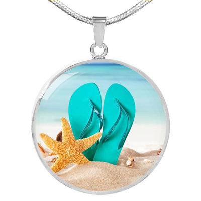 Flip Flops On The Beach Round Pendant Necklace-Jewelry-Stainless Luxury Necklace-Coastal Passion
