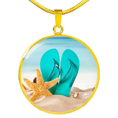 Flip Flops On The Beach Round Pendant Necklace-Jewelry-14k Gold Finish Luxury Necklace-Coastal Passion