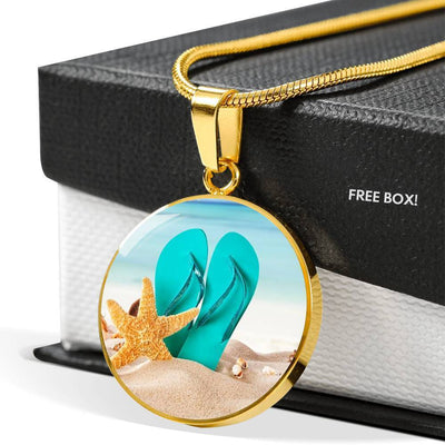 Flip Flops On The Beach Round Pendant Necklace-Jewelry-Coastal Passion