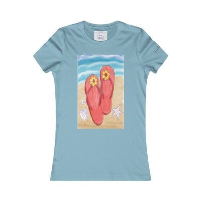 Flip Flops On the Beach T-Shirt-T-Shirt-Baby Blue-S-Coastal Passion