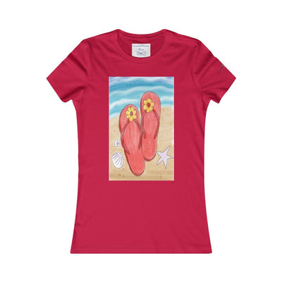 Flip Flops On the Beach T-Shirt-T-Shirt-Red-S-Coastal Passion
