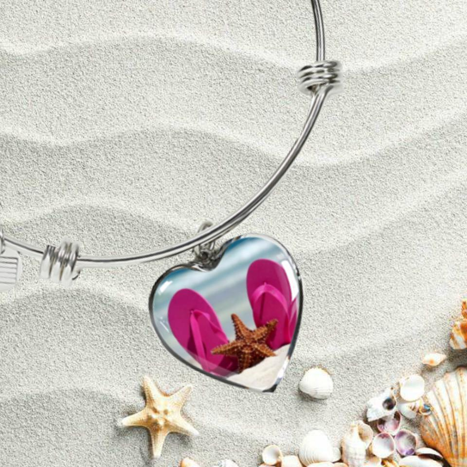 Flip Flops & Starfish Bracelet-Bangle Bracelet-Coastal Passion