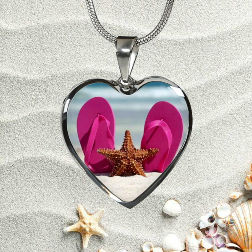 Flip Flops & Starfish Necklace-Jewelry-Coastal Passion