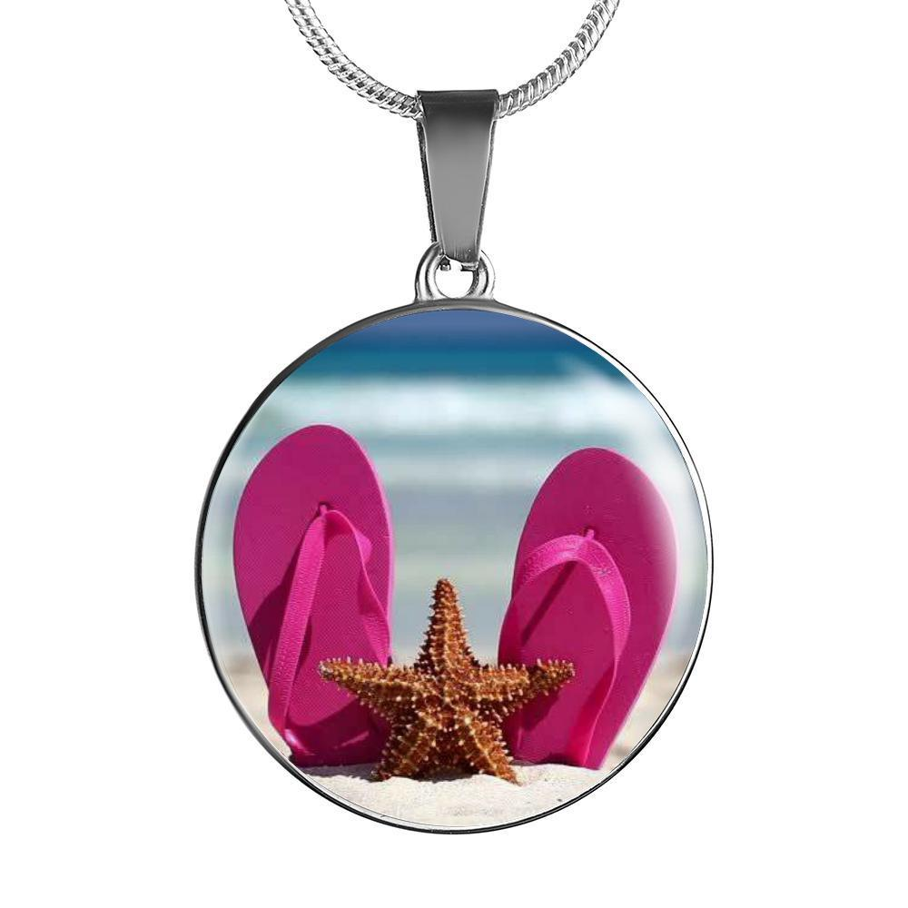 Flip Flops & Starfish Necklace-Jewelry-Luxury Necklace (Silver)-Coastal Passion