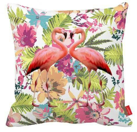 Floral Flamingos Pillow Cover
