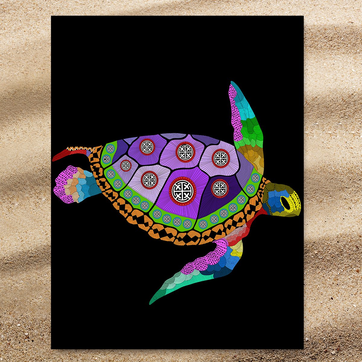 Free Spirit Turtle Extra Large Towel-Coastal Passion