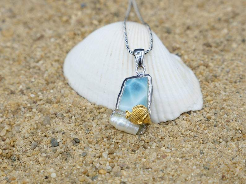-Golden Fish and Pearl Beach Pendant - Only One Piece Created-Coastal Passion