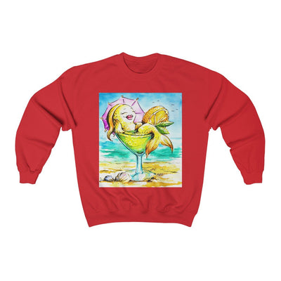 Happy Hour At The Beach Sweatshirt-Sweatshirt-Red-S-Coastal Passion