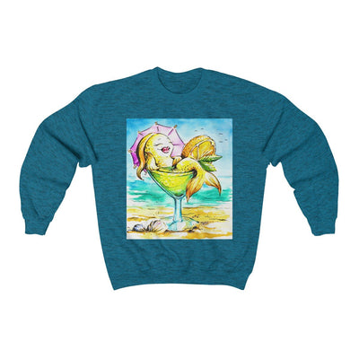 Happy Hour At The Beach Sweatshirt-Sweatshirt-Antique Sapphire-S-Coastal Passion