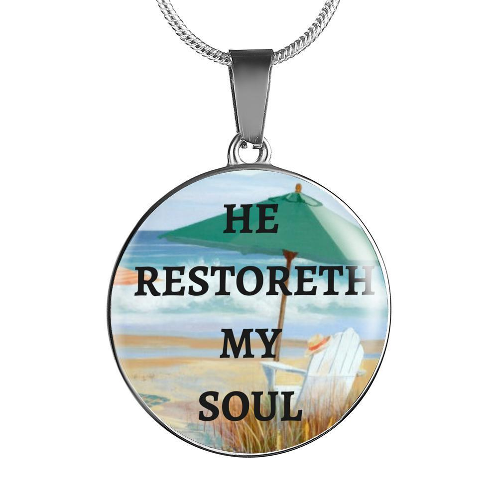 He Restoreth My Soul Necklace-Jewelry-Luxury Necklace w/ adjustable snake-chain-Coastal Passion