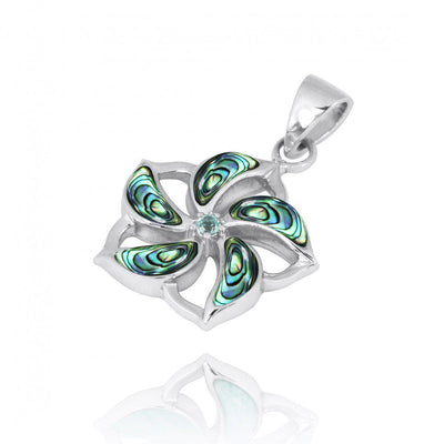 Pendant-Hibiscus Shaped Sterling Silver Pendant Necklace with Abalone Shell Starfish and Swiss Blue Topaz-Coastal Passion