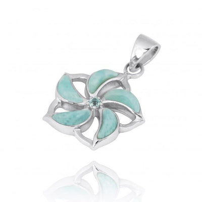 Pendant-Hibiscus Shaped Sterling Silver Pendant Necklace with Larimar and Swiss Blue Topaz-Coastal Passion