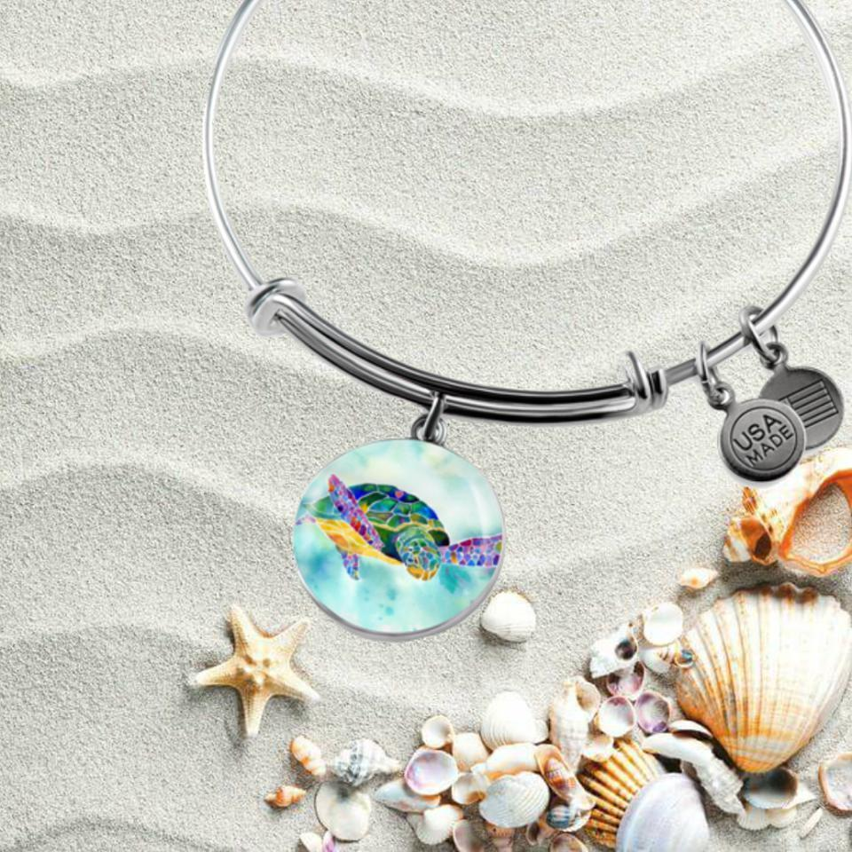 I Heart Sea Turtle Bangle Bracelet-Bangle Bracelet-Bangle-Bracelet adjustable-Coastal Passion