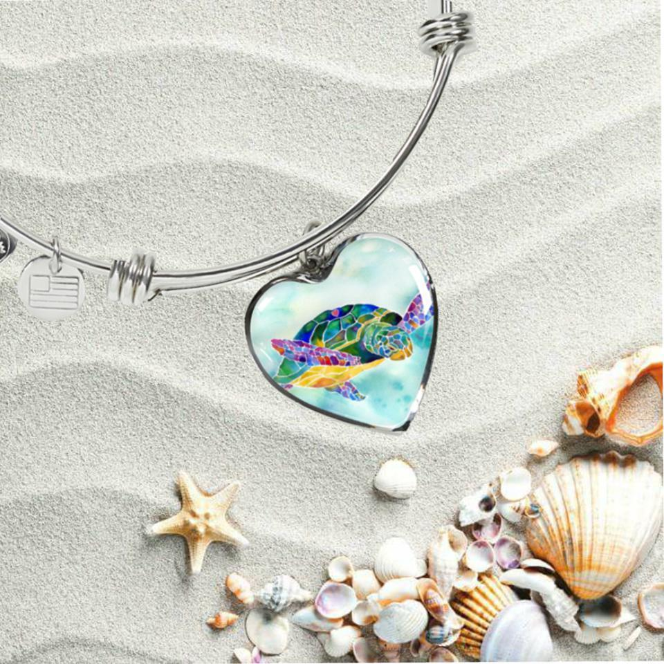 I Heart Sea Turtle Bangle Bracelet-Bangle Bracelet-Coastal Passion