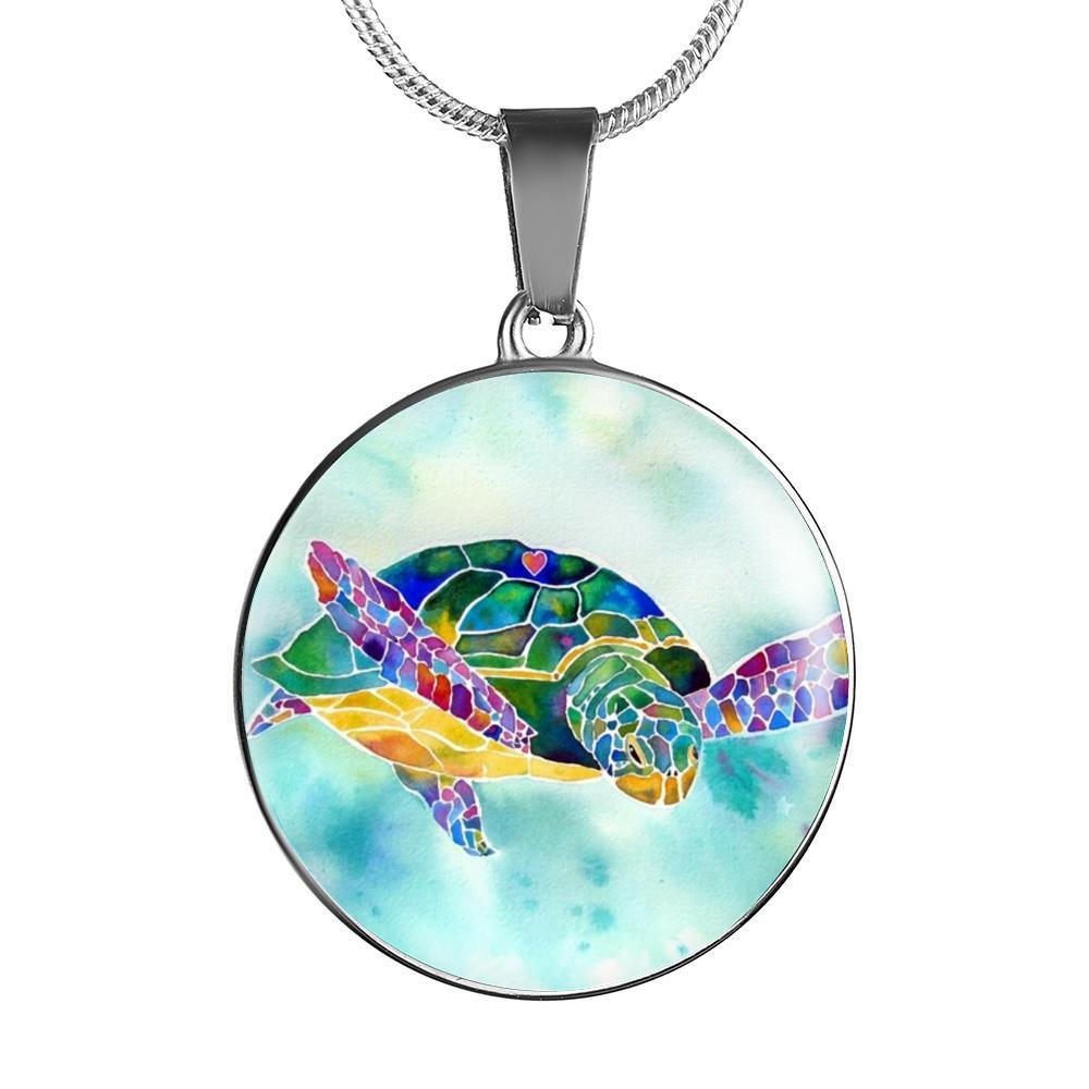 I Heart Sea Turtle Necklace-Jewelry-Luxury Necklace w/ adjustable snake-chain-Coastal Passion
