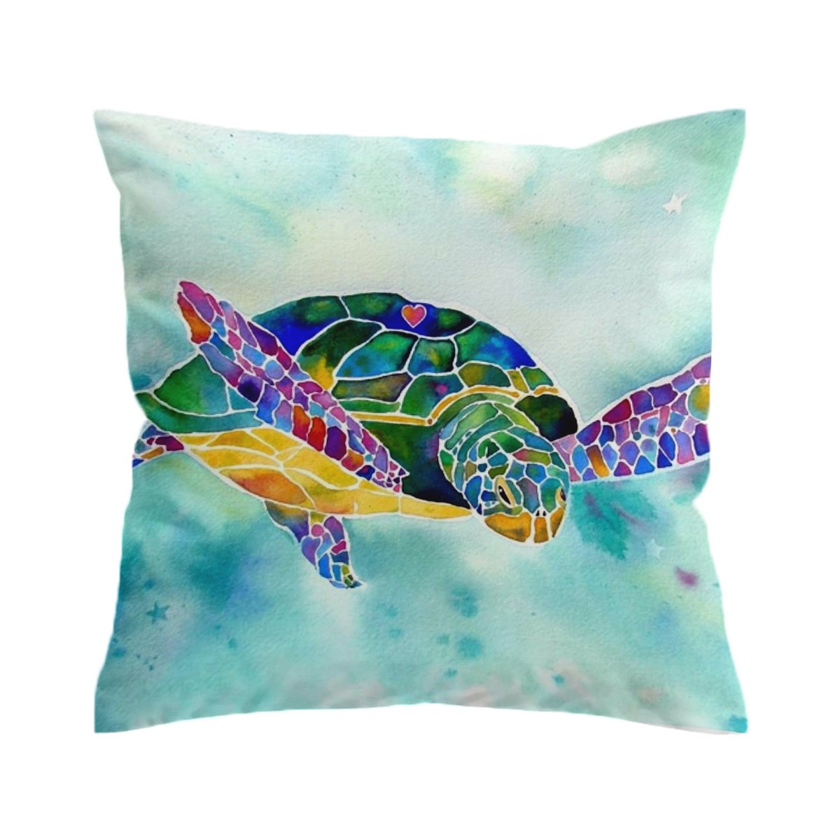 I Heart Turtle Pillow Cover-Coastal Passion