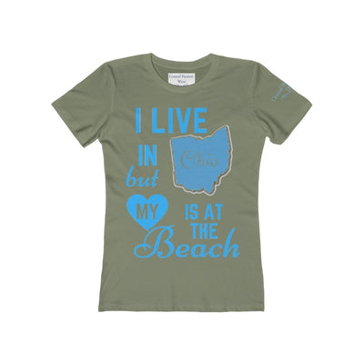 I Live In Ohio But My Heart Is at the Beach Shirt-T-Shirt-Solid Light Olive-S-Coastal Passion