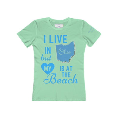 I Live In Ohio But My Heart Is at the Beach Shirt-T-Shirt-Solid Mint-S-Coastal Passion