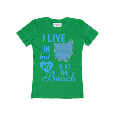I Live In Ohio But My Heart Is at the Beach Shirt-T-Shirt-Solid Kelly Green-S-Coastal Passion