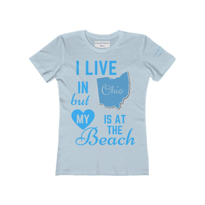 I Live In Ohio But My Heart Is at the Beach Shirt-T-Shirt-Solid Light Blue-S-Coastal Passion