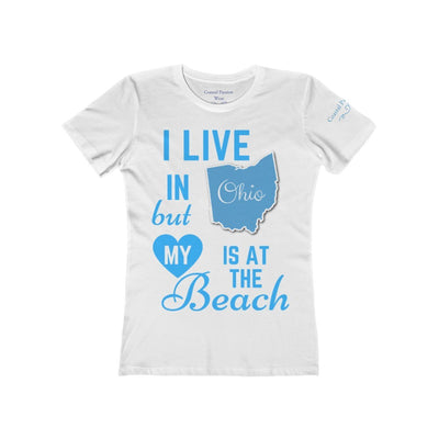 I Live In Ohio But My Heart Is at the Beach Shirt-T-Shirt-Solid White-S-Coastal Passion