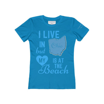 I Live In Ohio But My Heart Is at the Beach Shirt-T-Shirt-Solid Turquoise-S-Coastal Passion