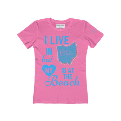 I Live In Ohio But My Heart Is at the Beach Shirt-T-Shirt-Solid Hot Pink-S-Coastal Passion