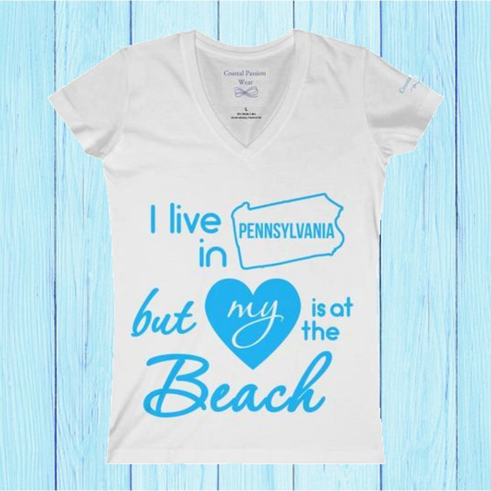 I Live In Pennsylvania But My Heart Is At The Beach V-neck Shirt-V-neck-Coastal Passion