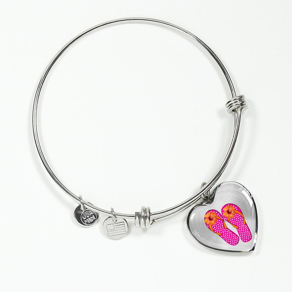 I Love Flip Flops Heart Bracelet-Jewelry-Luxury Bangle (Silver)-Coastal Passion