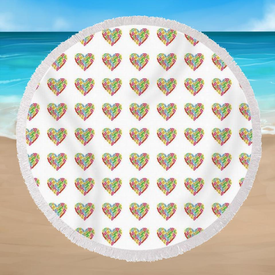 I Love Flip Flops Round Beach Towel-Round Beach Towel-Coastal Passion